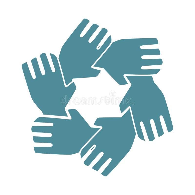 Дизайн значка сыгранности рук силуэта иллюстрация штока