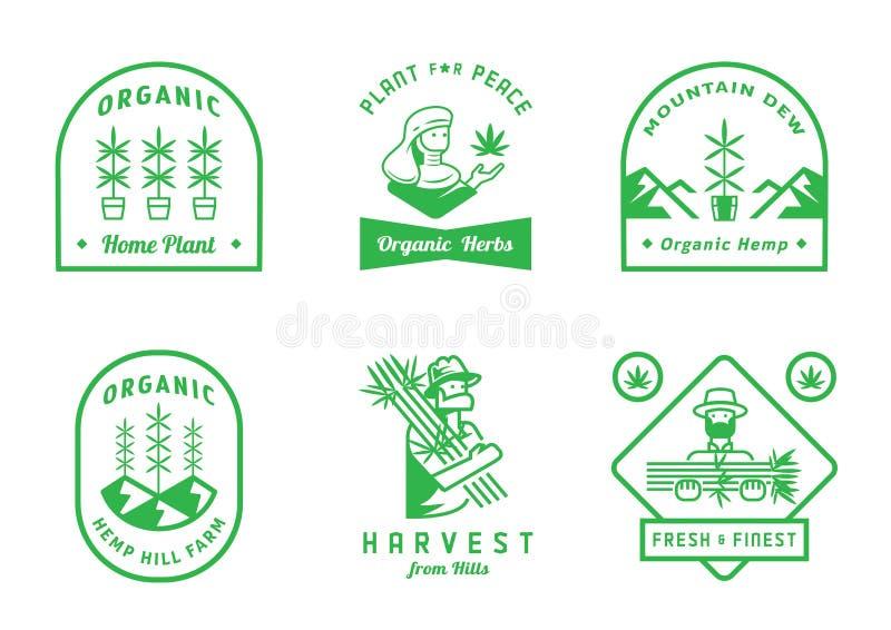 Дизайн значка фермы пеньки с фермером бесплатная иллюстрация