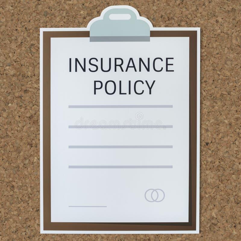 Дизайн значка формы согласования данным по полиса страхования иллюстрация вектора