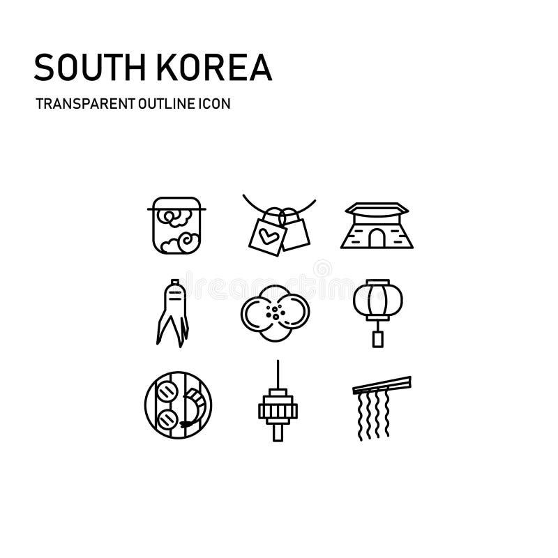 Дизайн значка Южной Кореи с прозрачной тонкой линией включая 9 значок, барабанчик Кореи, замок влюбленности, дворец, женьшень, ка стоковое фото