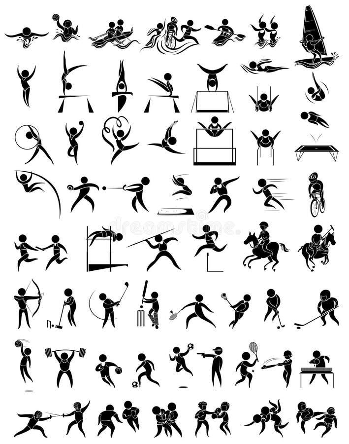 Дизайн значка для много тип спорт иллюстрация вектора