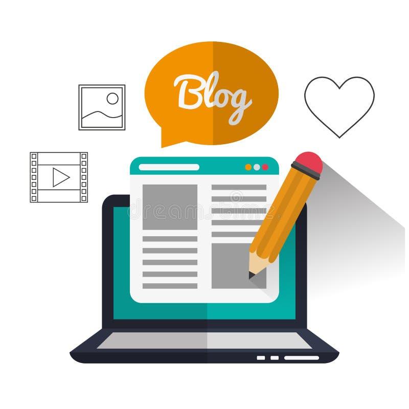 Дизайн значков блога иллюстрация вектора
