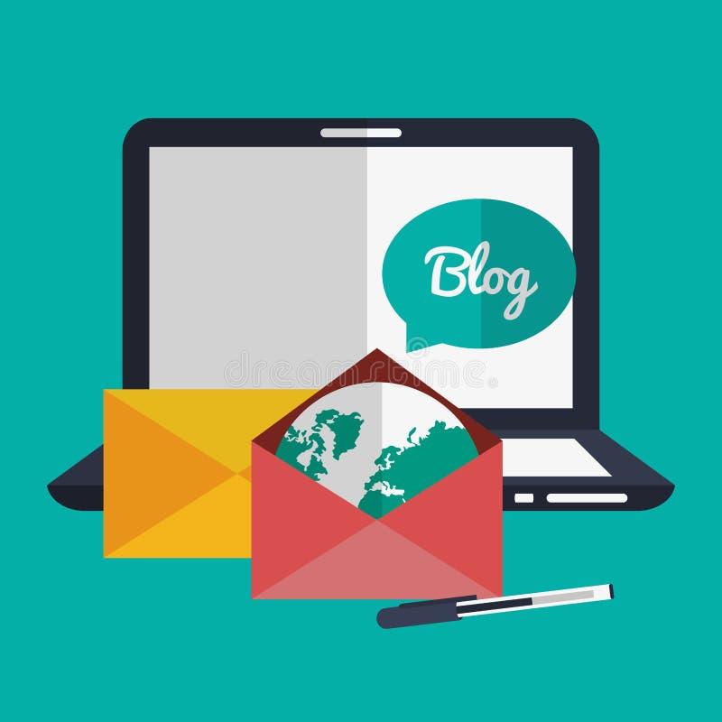 Дизайн значков блога иллюстрация штока