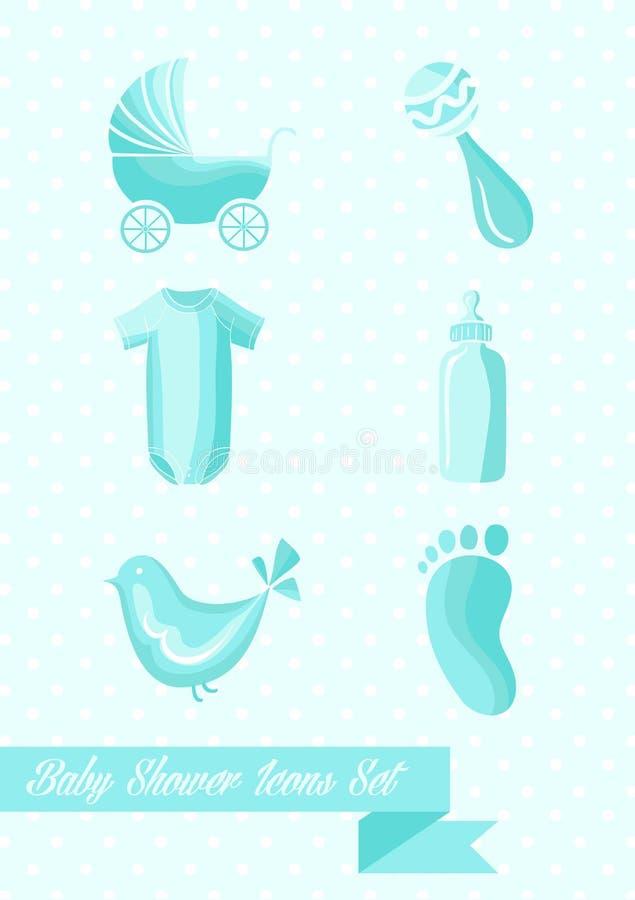 Дизайн значков мальчика детского душа установленный бесплатная иллюстрация