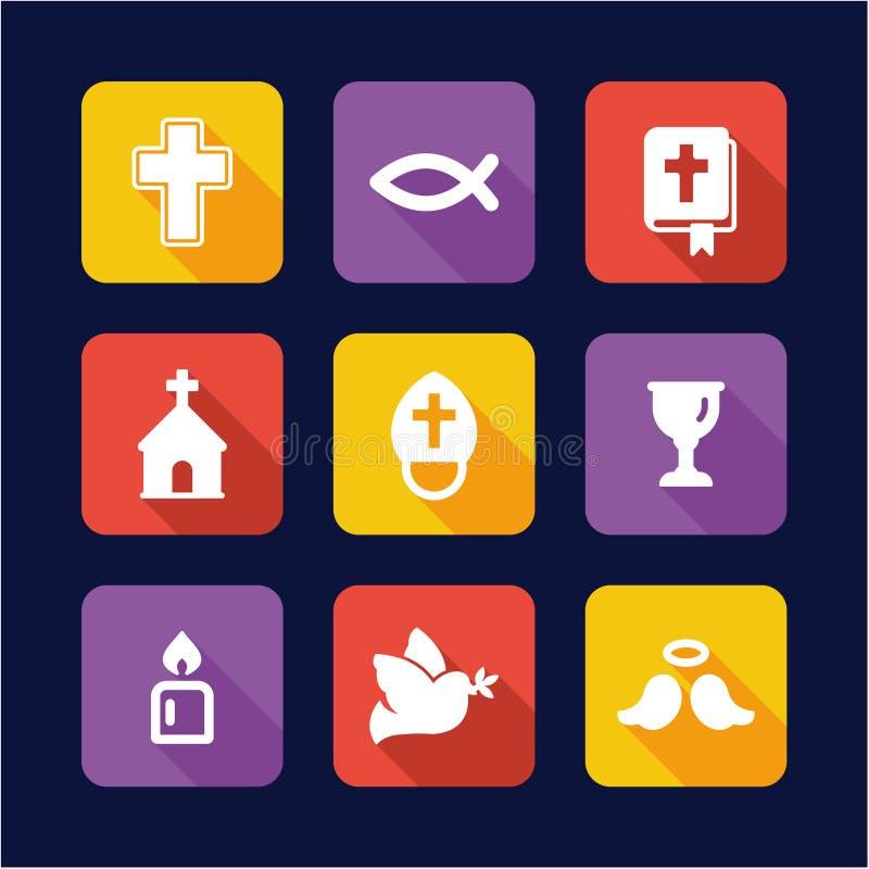 Дизайн значков христианства плоский иллюстрация вектора
