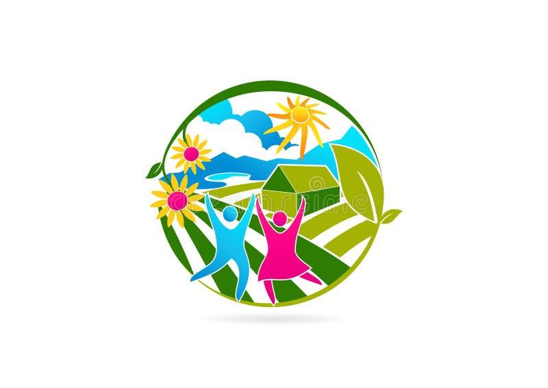 Дизайн здоровых, людей, логотипа, цветка, фермы, символа, фитнеса, здоровья, значка и концепции терапией бесплатная иллюстрация