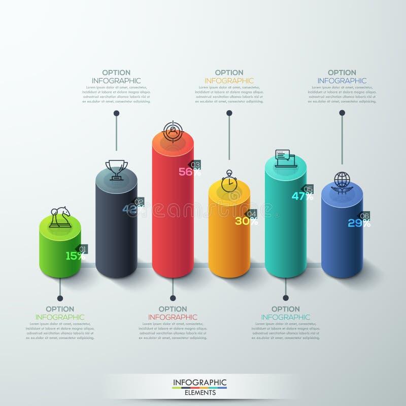Дизайн диаграммы в виде вертикальных полос цилиндра шаблона Infographic современный бесплатная иллюстрация