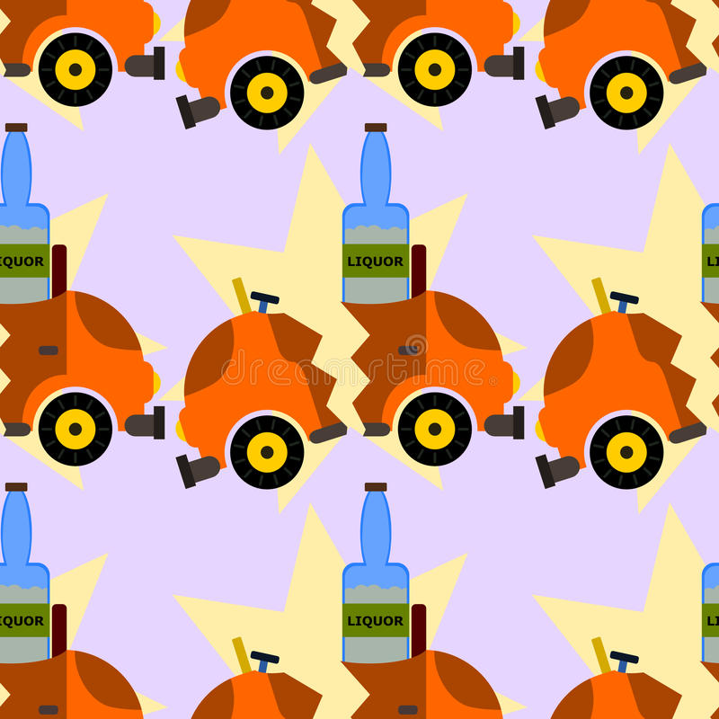 Дизайн ликера и предпосылки автокатастрофы безшовный бесплатная иллюстрация