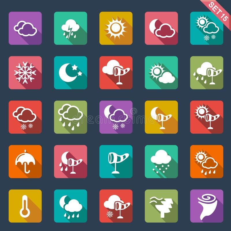 Дизайн икон погоды плоский иллюстрация штока