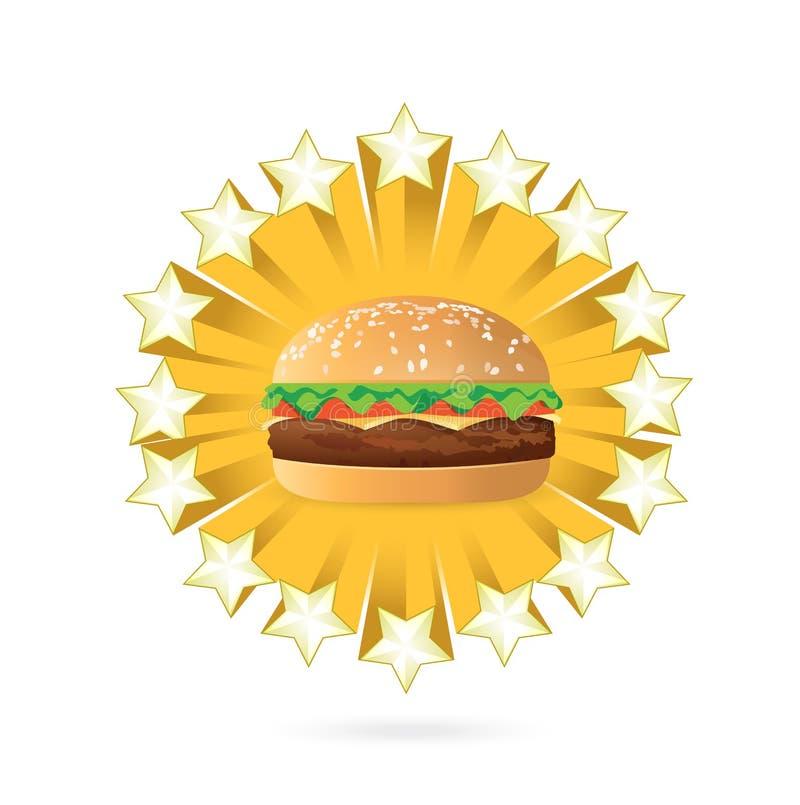 дизайн иллюстрации бургера и концепции звезд иллюстрация вектора