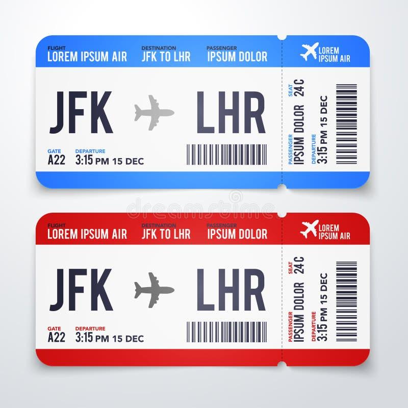 Дизайн иллюстрации вектора современный, реалистический авиабилета с временем полета, назначение и имя пассажира Билеты самолета B иллюстрация вектора