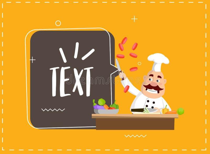 Дизайн иллюстрации вектора тучного урока кулинарии шеф-повара шаржа плоский иллюстрация вектора