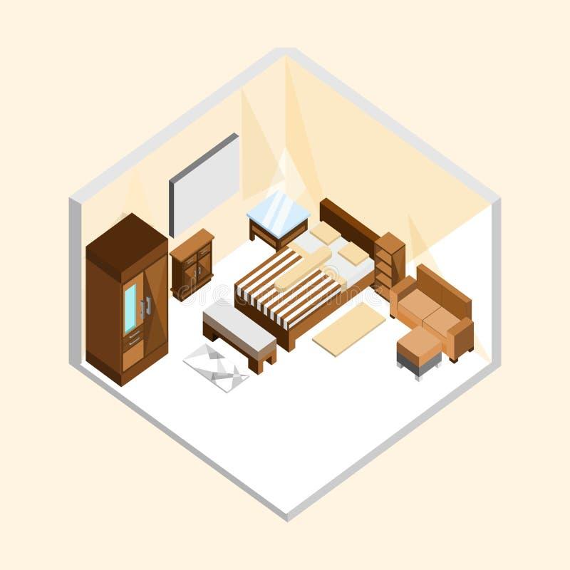 Дизайн иллюстрации естественной деревянной классической спальни равновеликий домашний внутренний иллюстрация штока