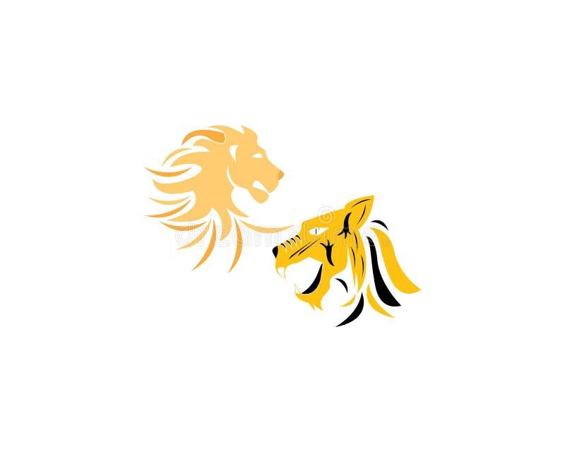 Дизайн иллюстрации значка вектора шаблона логотипа льва и тигра иллюстрация вектора