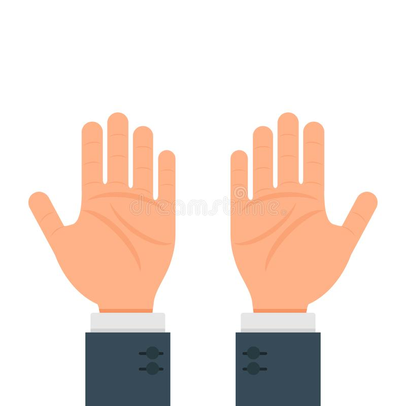 Дизайн иллюстрации человеческого вектора жеста рук плоский изолированный на белой предпосылке иллюстрация штока