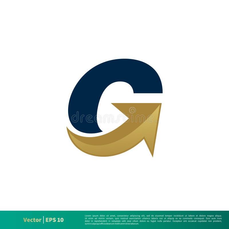 Дизайн иллюстрации шаблона логотипа вектора значка стрелки письма g r иллюстрация штока