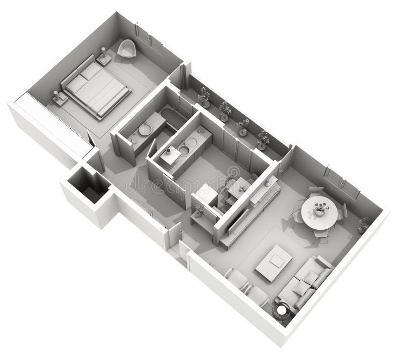 Дизайн интерьера - дом глины 3d - уютная квартира иллюстрация вектора