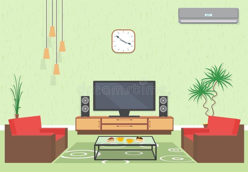 Дизайн интерьера живущей комнаты в плоском стиле с мебелью, софой, таблицей, ТВ, цветком, кондиционером и часами иллюстрация штока