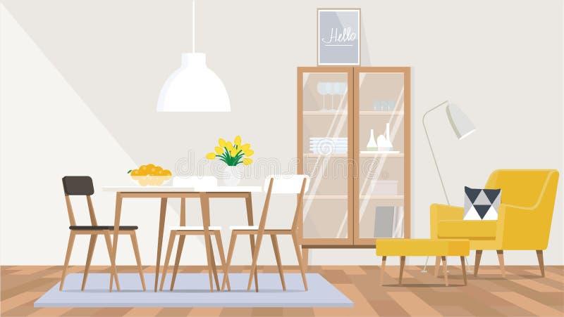 Дизайн интерьера живущей комнаты и столовой в скандинавском стиле с желтым стулом, деревянной мебели иллюстрация вектора