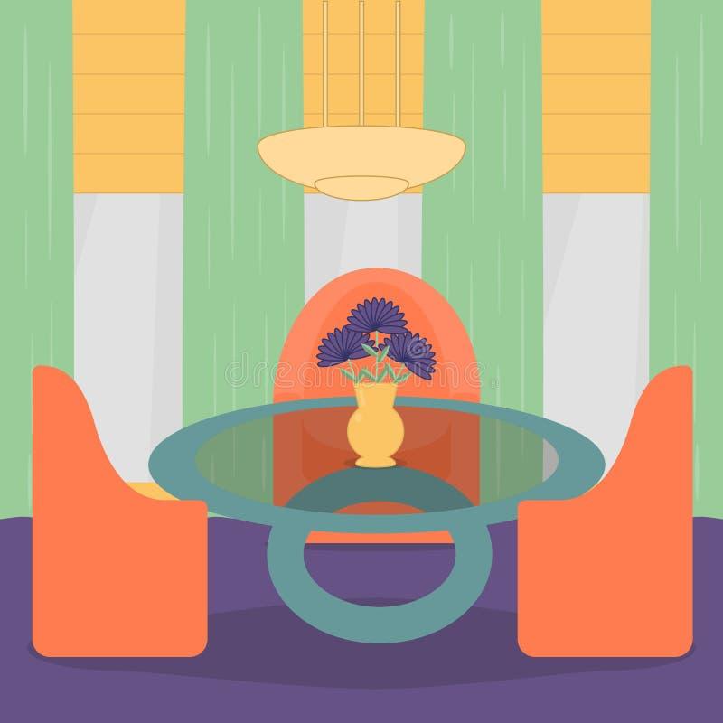 Дизайн интерьера живущей комнаты с мебелью, креслами, таблицей, цветком, лампой и окном иллюстрация вектора