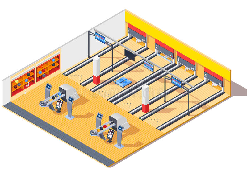 Дизайн интерьера клуба боулинга равновеликий иллюстрация вектора