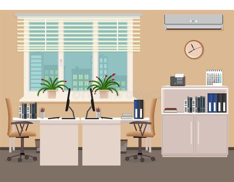 Дизайн интерьера комнаты офиса включая 2 места работы с кондиционером воздуха Организация рабочего места в офисе бесплатная иллюстрация