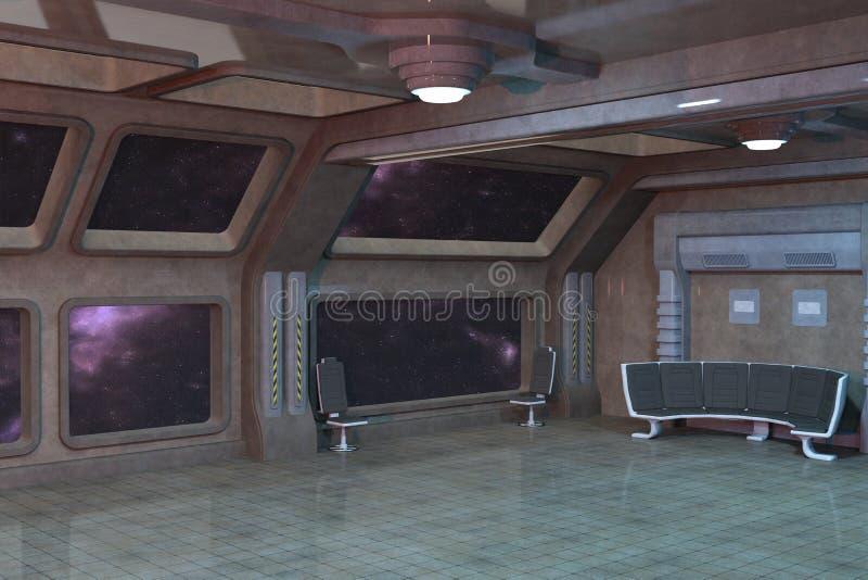 Дизайн интерьера комнаты палубы научной фантастики иллюстрация вектора