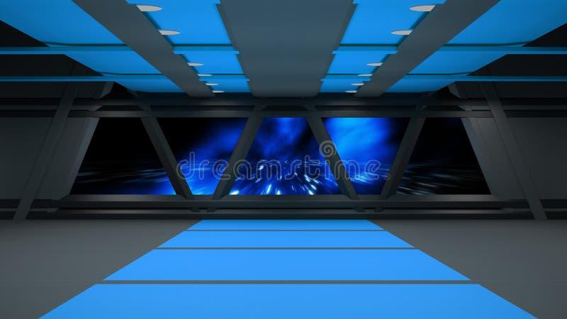 Дизайн интерьера коридора научной фантастики 3d стоковое изображение rf