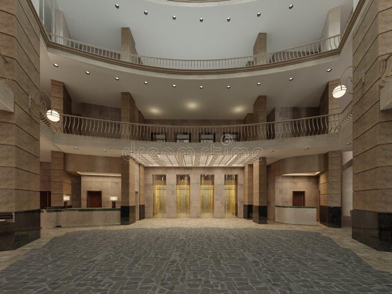 Дизайн интерьера лобби гостиницы с космосом большого мульти-этажа внутренним Каменные столбцы, балконы и лифты interfloor иллюстрация вектора