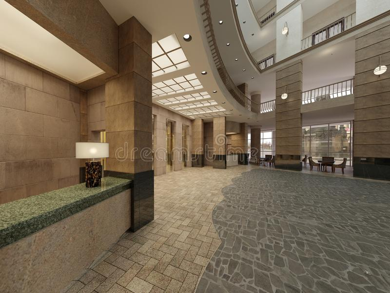 Дизайн интерьера лобби гостиницы с космосом большого мульти-этажа внутренним Каменные столбцы, балконы и лифты interfloor иллюстрация штока