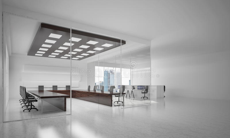 Дизайн интерьера офиса в цвете whire и лучи света от выигрыша стоковое изображение
