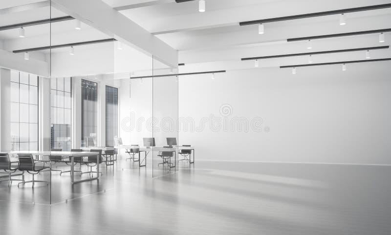 Дизайн интерьера офиса в цвете whire и лучи света от выигрыша бесплатная иллюстрация