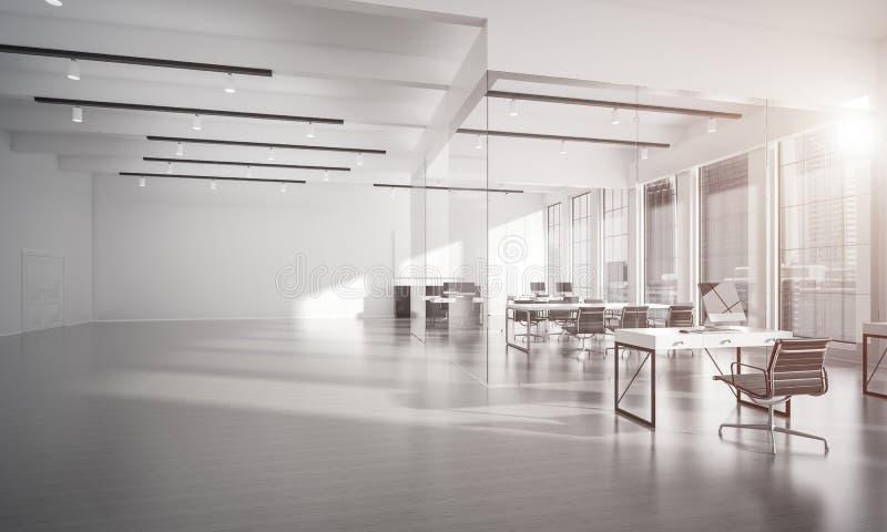 Дизайн интерьера офиса в цвете whire и лучи света от выигрыша стоковая фотография rf