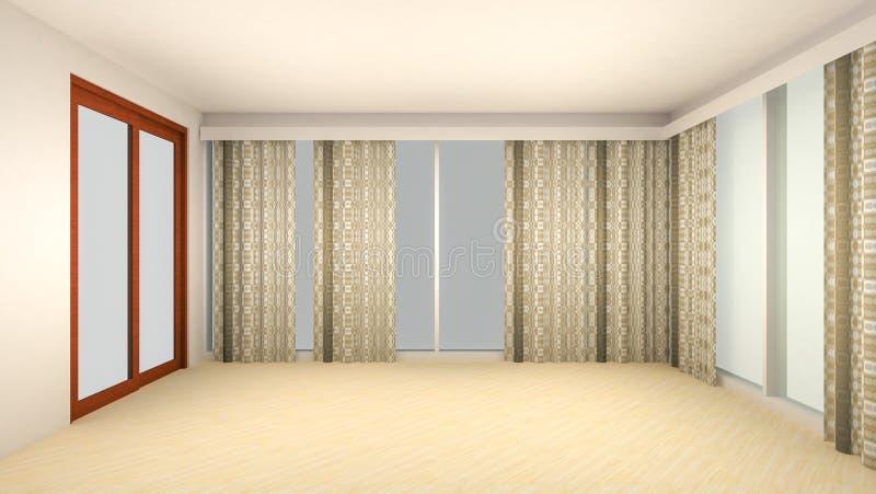 Дизайн интерьера пустого стиля комнаты и комнаты прожития современного с окном или дверью и деревянным полом E иллюстрация штока
