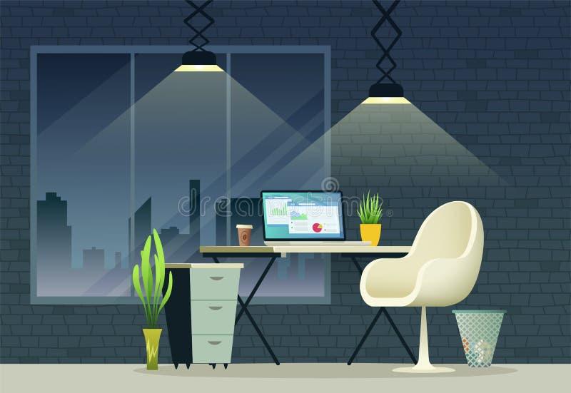 Дизайн интерьера рабочего места офиса Иллюстрация концепции домашнего офиса иллюстрация вектора