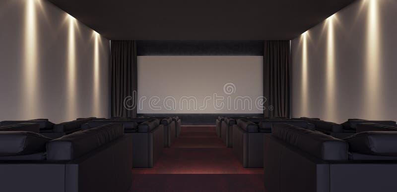 Дизайн интерьера роскошного домашнего кинотеатра иллюстрация вектора