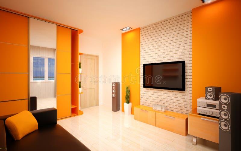 Дизайн интерьера. Современная живущая комната стоковое фото