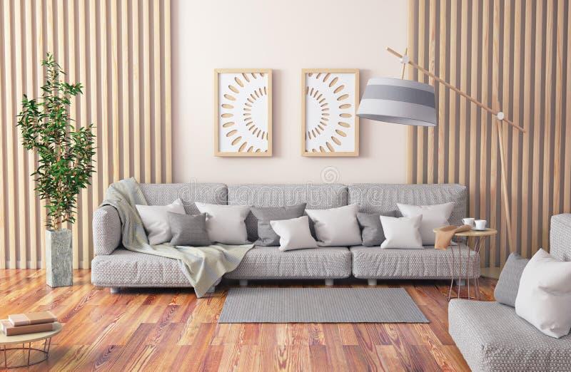 Дизайн интерьера современной живущей комнаты с серыми софой, журнальным столом и заводом, переводом 3d иллюстрация вектора