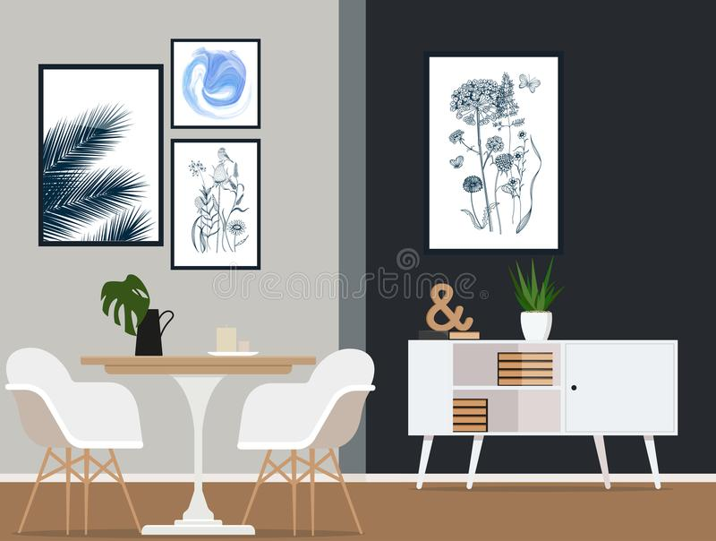 Дизайн интерьера современной столовой с модной мебелью Иллюстрация вектора плоская бесплатная иллюстрация