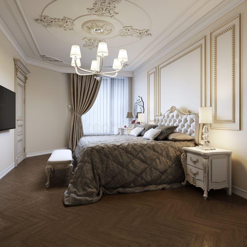 Дизайн интерьера спальни городской современной современной классики традиционный с бежевыми стенами, элегантной мебелью и постель иллюстрация вектора
