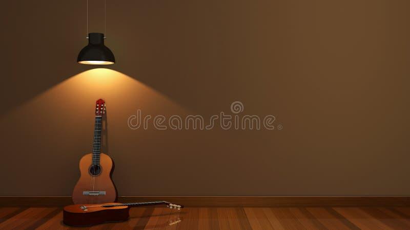 Дизайн интерьера с акустической гитарой стоковые фотографии rf