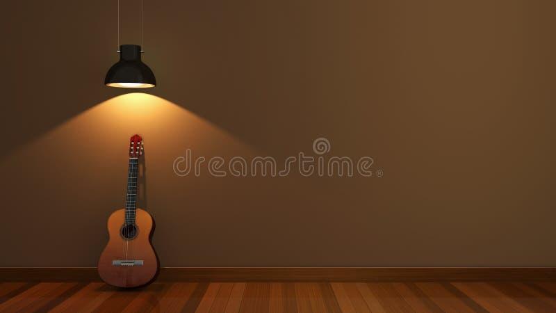Дизайн интерьера с акустической гитарой стоковое фото rf