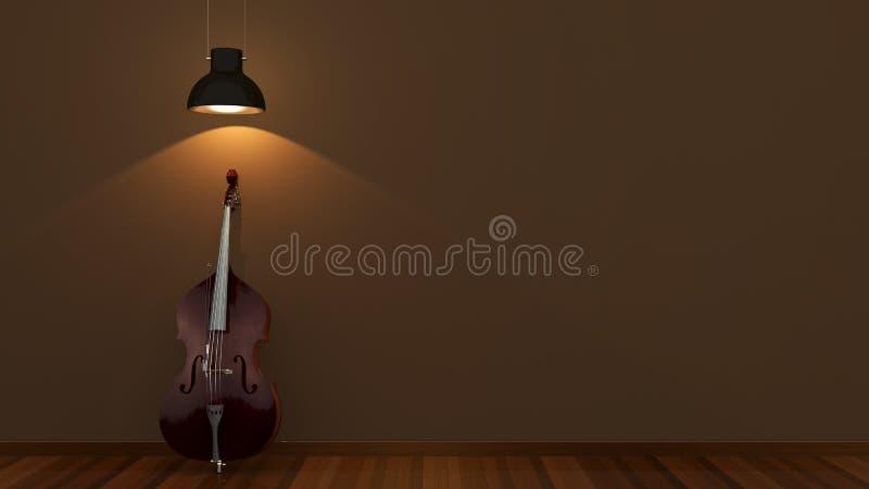 Дизайн интерьера с классическим contrabass стоковое фото rf
