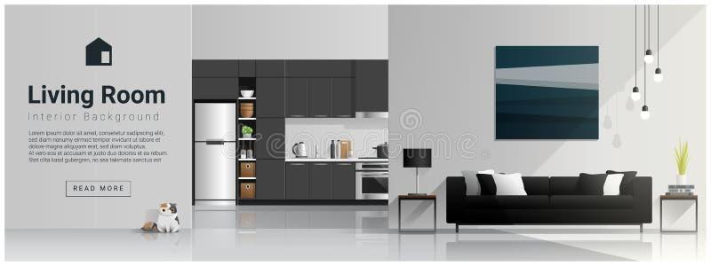 Дизайн интерьера с современной живущей предпосылкой комнаты и кухни иллюстрация штока