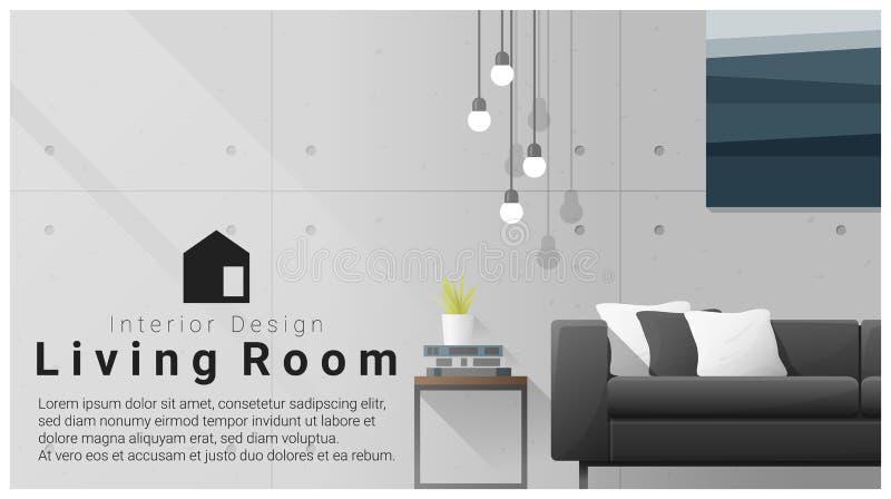 Дизайн интерьера с современной предпосылкой живущей комнаты иллюстрация штока