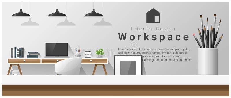 Дизайн интерьера с столешницей и современной предпосылкой рабочего места офиса иллюстрация вектора