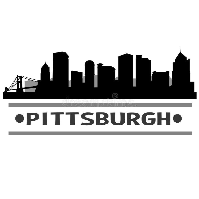 Дизайн искусства вектора значка города горизонта Питтсбурга иллюстрация штока