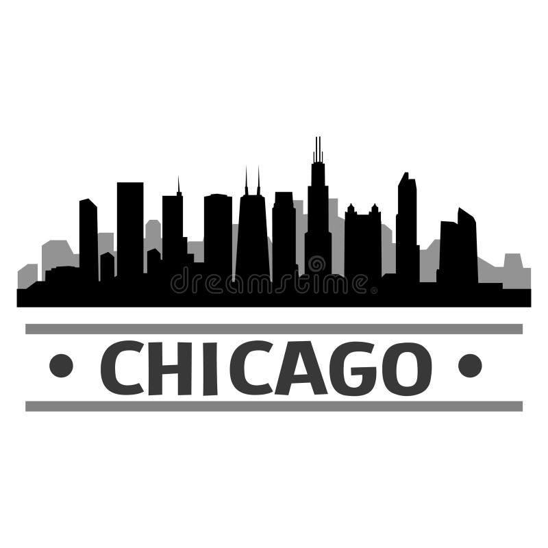 Дизайн искусства вектора значка города горизонта DC Чикаго иллюстрация штока