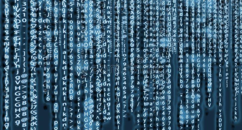 Дизайн искусства предпосылки матрицы компьютера Числа на экране Абстрактные графические данные концепции, технология, расшифровка стоковая фотография rf