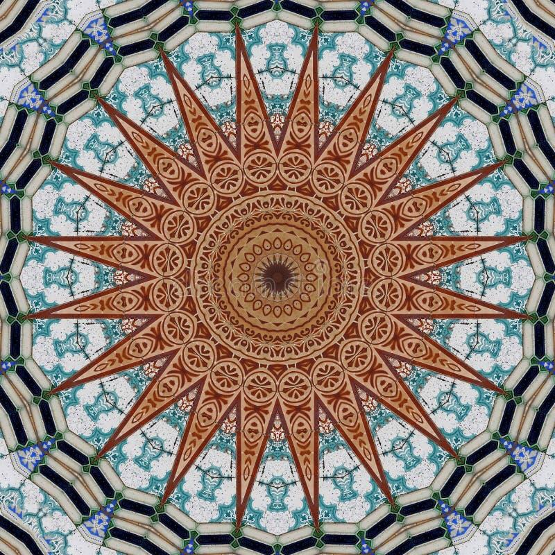 Дизайн искусства цифров, картина при azulejos увиденные через калейдоскоп иллюстрация штока